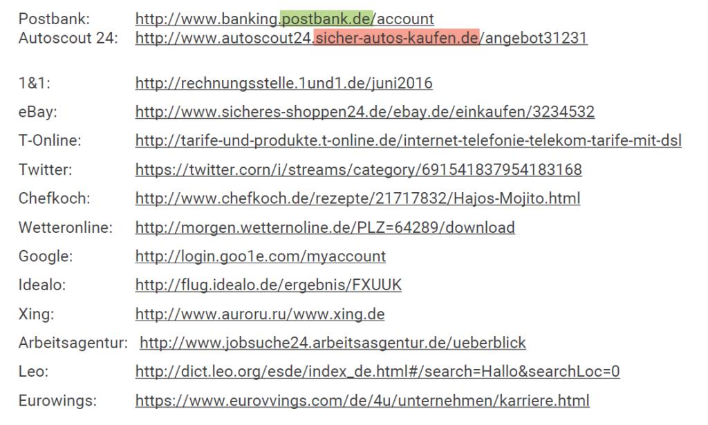 Wer-Bereich in der URL