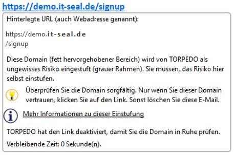 IT-Seal Domain wir von Torpedo als