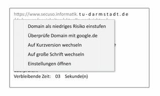Auswahlmöglichkeiten bei Torpedo, um Phishing Links zu erkennen