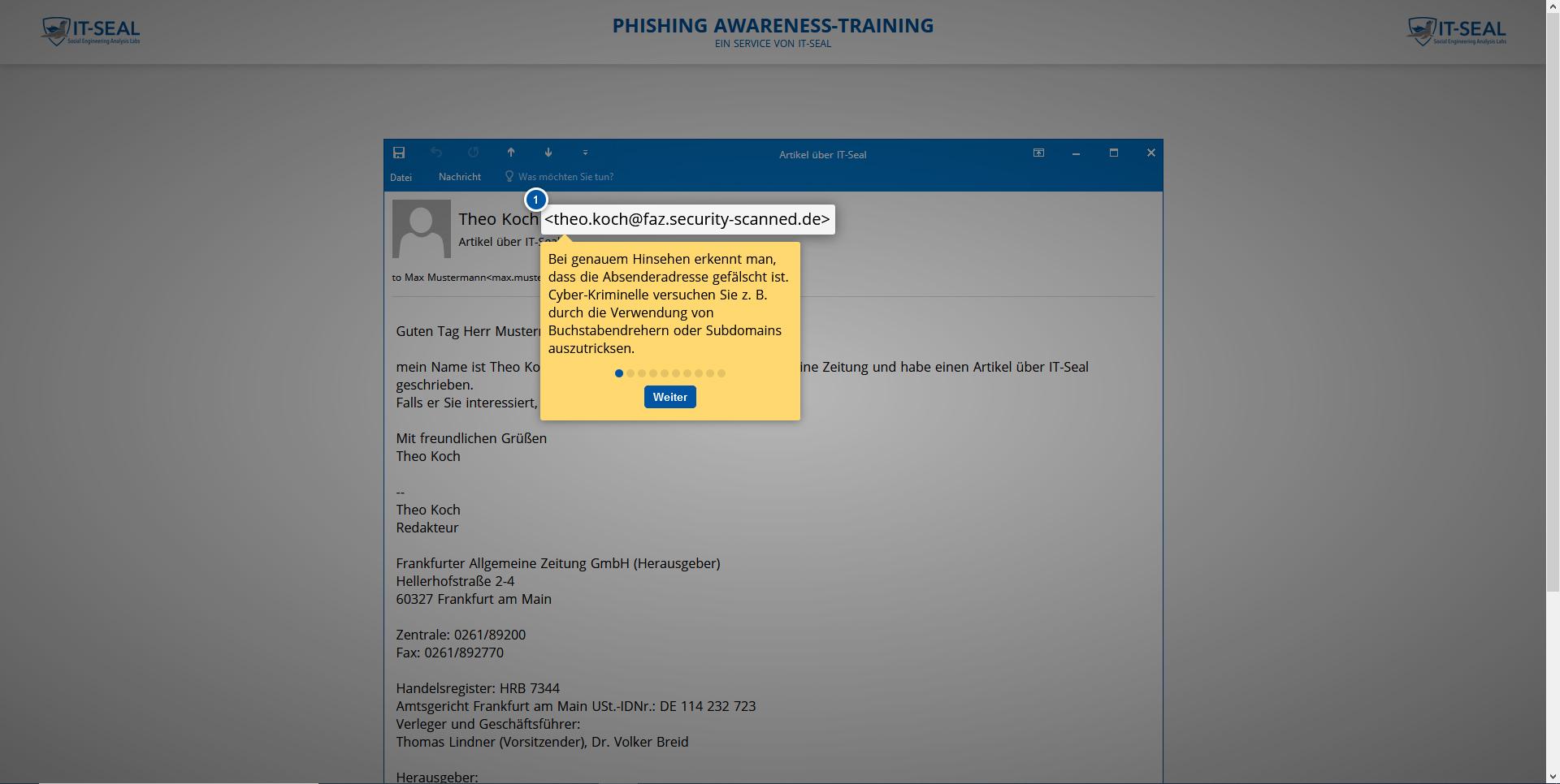 Effektives Security-Awareness-Training: Der Nutzer bekommt den Fehler anhand seiner geklickten Mail erklärt.
